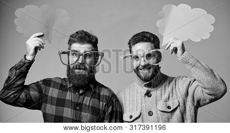 Men Joking. Share Opinion Speech Bubble Copy Space. Comic And Humor Sense. Men With Beard And Mustac
