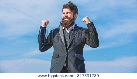 Upgrade. Bearded Man. Mature Hipster With Beard. Businessman Against The Sky. Future Success. Societ