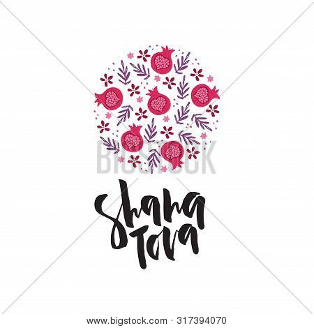Shana Tova Flat Vector Banner Template. Jewish New Year Traditional Food, Dessert, Symbolic Pomegran