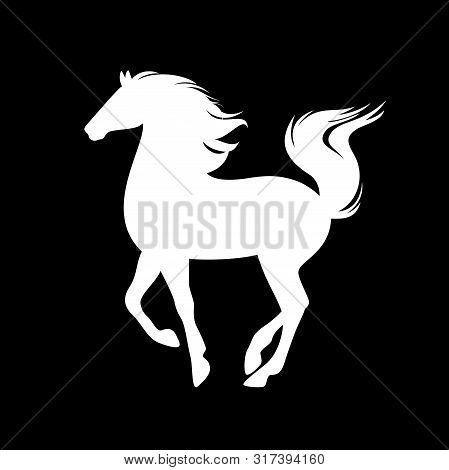 White Prancing Mustang Horse Silhouette - Side View Animal Vector Outline