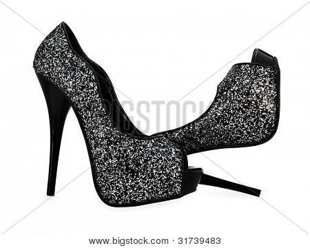 Black grey white high heels open toe pump shoes