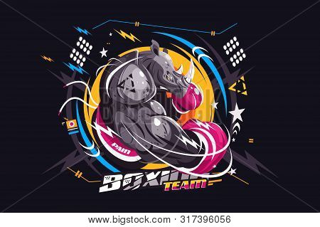 Strong Rhino Boxer Vector Illustration. Awesome Rhinoceros