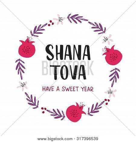 Shana Tova Holiday Flat Vector Banner Template. Pomegranates, Flowers, Branches Round Frame. Rosh Ha