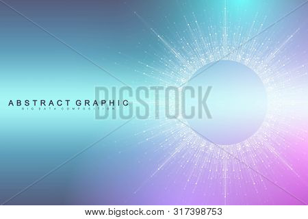 Expansion Of Life. Colorful Explosion Background With Connected Line And Dots, Wave Flow. Visualizat