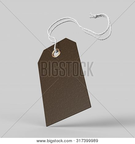 Blank Tag Tied With String. Price Tag, Gift Tag, Sale Tag, Address Label Isolated On Grey Background