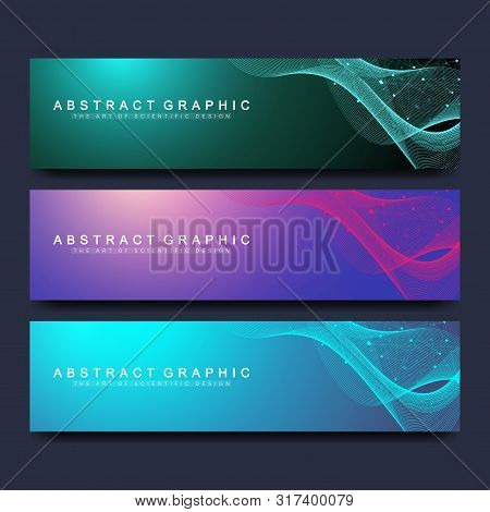 Abstract Vector Banners Templates For Web Site. Scientific Background Genetic Engineering And Gene M