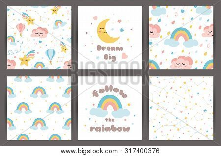 Cute Kids Backgroung Set In Cartoon Style Dream Big Rainbos Smiling Clouds Stars Pattern Cards Quote