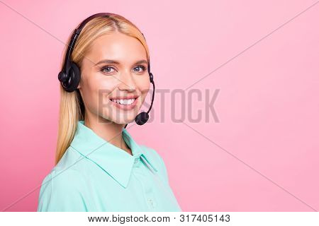 Close Up Turned Photo Of Cheerful Professional Looking With Toothy Smile Wearing Mint Color Shirt Is