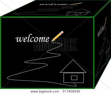 Welcome home. Remember yours every day. Background. 3D illustration.  Cubism . poster