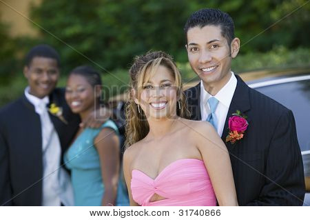 Couples on Their Way to Prom