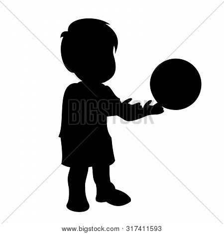 Little Boy Throws The Ball Out Of His Hands. Black Vector Graphic Illustration  Isolated On White Ba