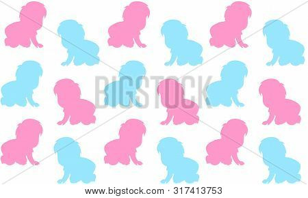 Vector Seamless Background With  Babies Crawling.  Color Seamless Pattern.