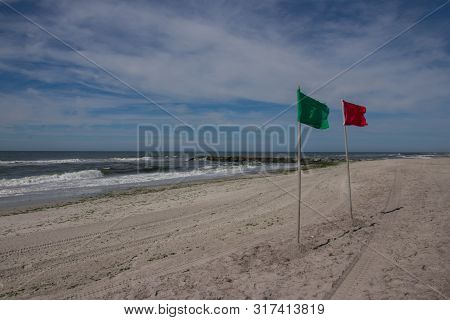 Red Flag For Rough Seas, Long Beach, New York, Usa