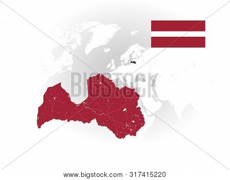 Map Of Latvia With Rivers And Lakes, National Flag Of Latvia And World Map As Background. Please Loo