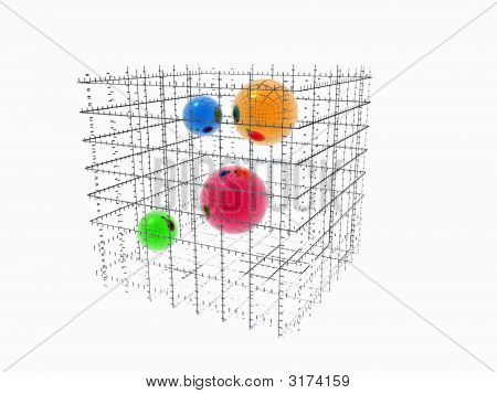 Collored Christall Balls Connected In Wireframe