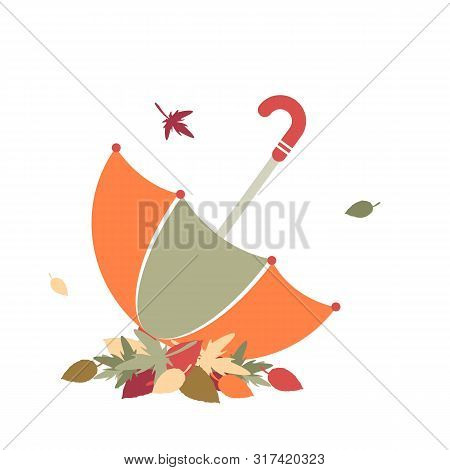 Leaf Fall. Vector Illustration With Umbrella And Autumn Leaves. Eps 10