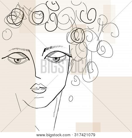 Beautiful Fashion Woman Vector Portrait. Hand Drawn Illustration For Black And White Print, Greeting