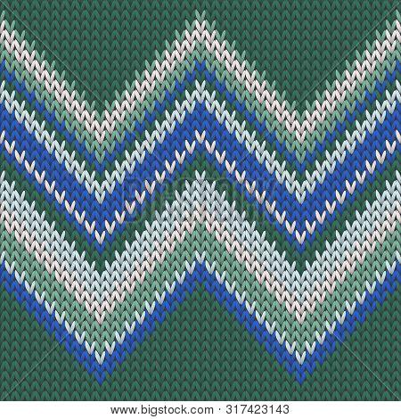 Chunky Zig Zal Lines Knit Texture Geometric Seamless Pattern. Blanket Knit Effect Ornament. Norwegia