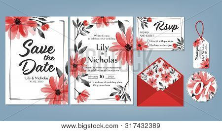 Wedding Floral Template Collection Of Wedding Invite, Rsvp, Thank You Label Save The Date Card Desig
