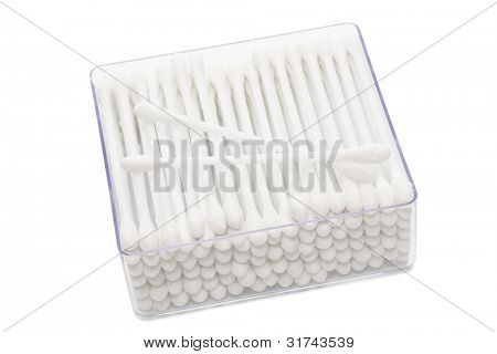 cotton buds in box on a white background