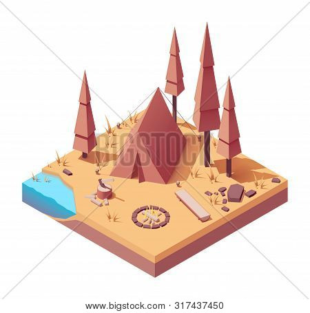 Vector Isometric Campsite In The Autumn Forest. Camping Tent, Campfire, Wooden Bench, Axe And Choppe