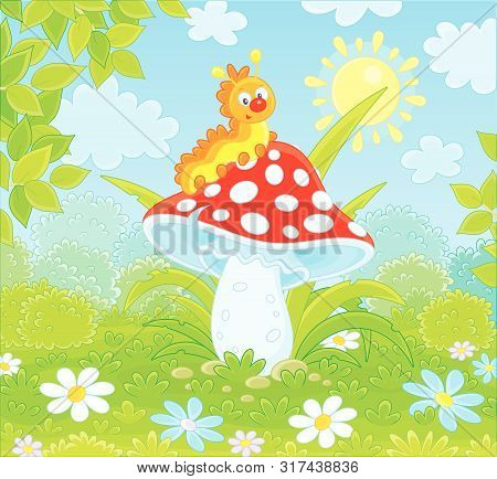 Funny Yellow Caterpillar Crawling On A Big Red Amanita On A Green Glade Of A Summer Forest, Vector I
