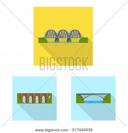 Vector Design Of Bridgework And Bridge Icon. Set Of Bridgework And Landmark Vector Icon For Stock.