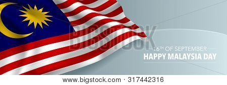Happy Malaysia Day Vector Banner, Greeting Card. Malaysian Wavy Flag In 16th Of September National P