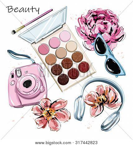 Hand Drawn Stylish Set With Eye Shadows, Brush, Camera, Headphones, Sunglasses And Flowers. Beautifu