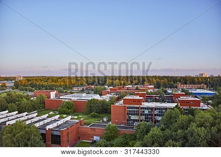 Campus Of Miet In Zelenograd Landscape In Forest In Sunny Day With Clear Blue Sky