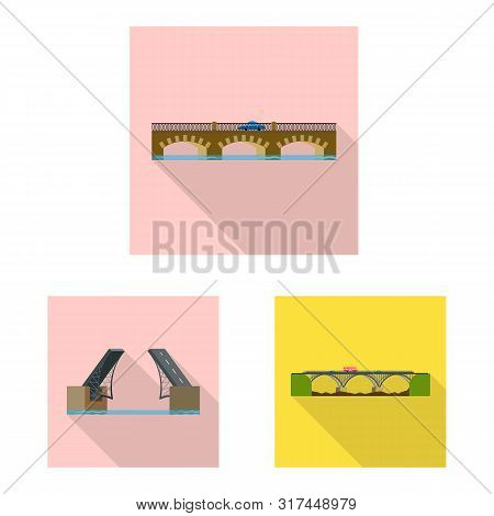 Vector Illustration Of Bridgework And Bridge Icon. Set Of Bridgework And Landmark Stock Symbol For W