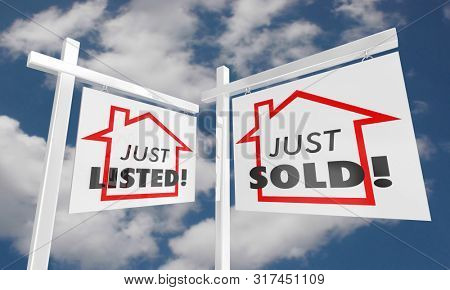 Just Listed Sold Real Estate Home for Sale Sign 3d Illustration