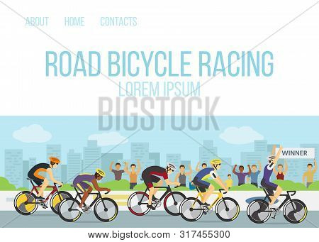 Road Bicycle Racing Sport Competition Cartoon Web Template Vector Illustration. Group Of Cyclists Or