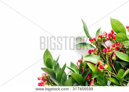 Green Herbs And Red Berries For Summer Design On White Background Top View Mock Up