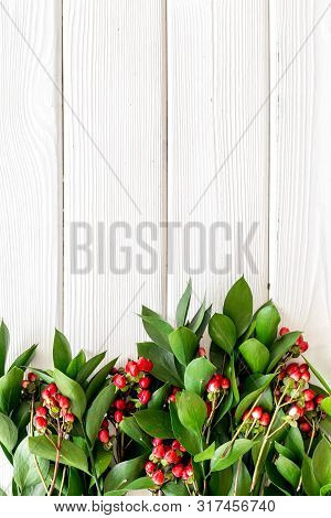 Green Leaves And Red Berries Frame On White Wooden Background Top View Copyspace