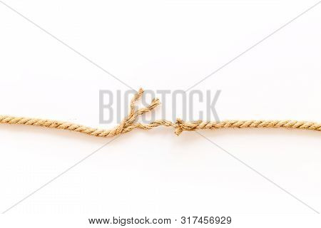 Tearing The Rope Under Stress On White Background Top View Copyspace