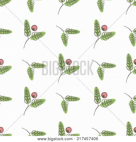 Linocut Style Red Berries And Green Leaves With Offset Color. Seamless Vector Pattern On Warm White