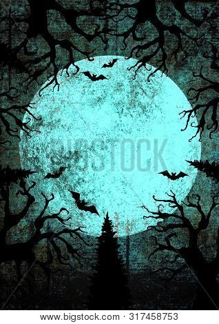 Halloween Holiday Bright Grunge Vertical Background With Full Moon, Silhouettes Of Bats And Terrible