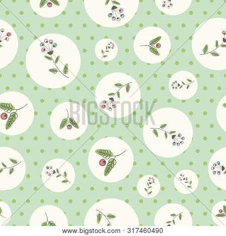 Linocut Style Flowers And Leaves With Offset Color In White Circles. Seamless Vector Pattern On Gree