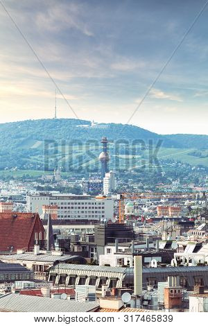 Beautiful Evening Panoramic View Of Vienna City And A Fragment Of A Spittelau Incinerator Pipe On Th