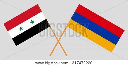 Armenia And Syria. Armenian And Syrian Flags. Official Colors. Correct Proportion. Vector Illustrati