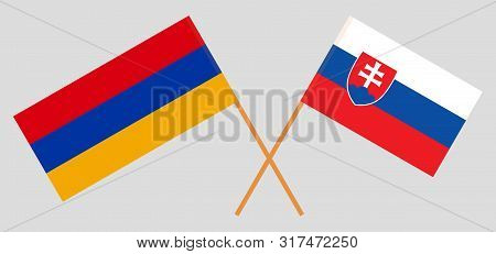 Armenia And Slovakia. Crossed Armenian And Slovakian Flags. Official Colors. Correct Proportion. Vec