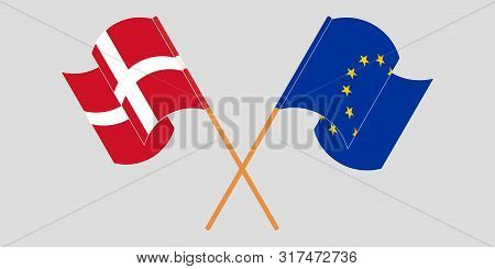 Crossed And Waving Flags Of Germany And Eu. Vector Illustration