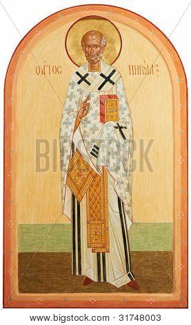 religious orthodox oil painted icon on wood of Saint Nicolas