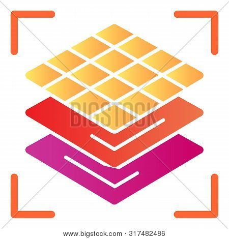 3d Square Layers Flat Icon. 3d 3d Layering Design Color Icons In Trendy Flat Style. 3d Modeling Laye