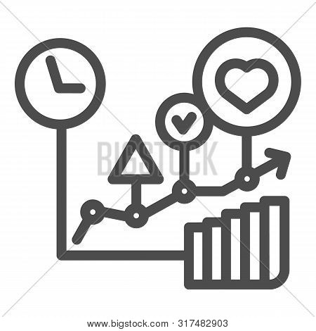 Commodity Turnover Line Icon. Business Graph Vector Illustration Isolated On White. Trade Schedule O