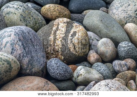 Colorful Rocks On Newfoundland Beach Worn Smooth By Water