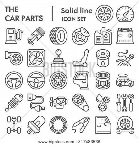 Car Parts Line Icon Set, Auto Details Symbols Collection, Vector Sketches, Logo Illustrations, Autom