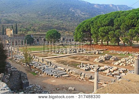 The Commercial Agora In The Ancient City Ruins Of Ephesus, Turkey Near Selcuk With Copy Space.