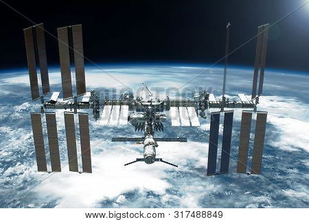 International Space Station Over The Planet. Elements Of This Image Were Furnished By Nasa For Any P